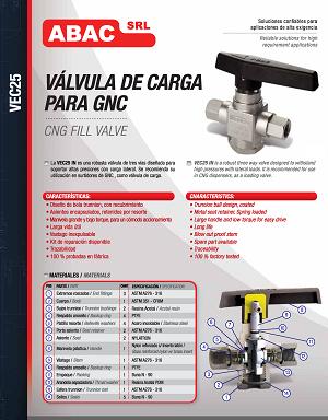 Válvula de carga para GNC